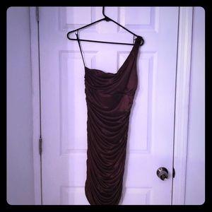 Brown Satin One Shoulder Dress